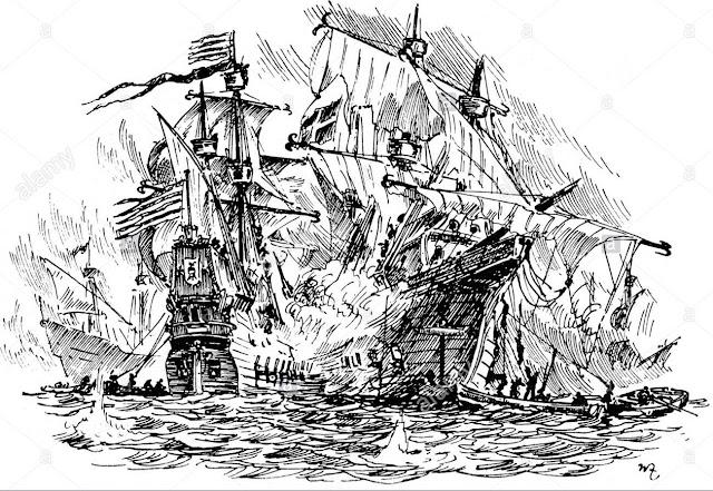 Naufragio en el Golfo de Cádiz en 1563.
