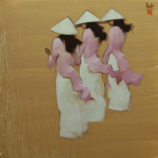 Estudantes de Vestido Rosa - Thanh Binh e Suas Pinturas Elegantes - Vietnamita