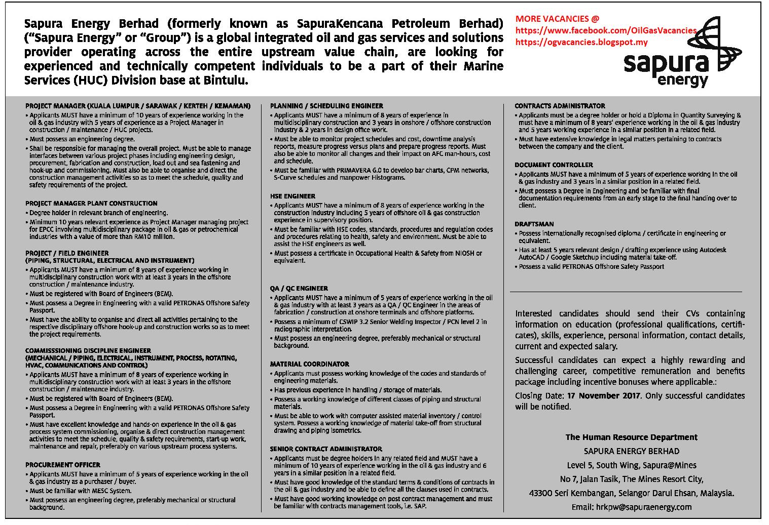 Oil &Gas Vacancies: Vacancies - Sapura Energy - Bintulu