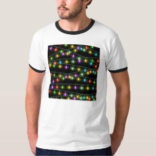 printed christmas light tshirt