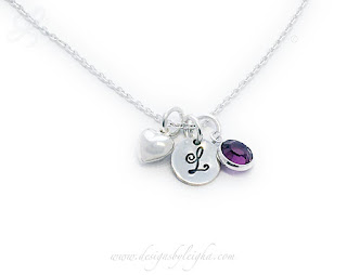 Monogram or Initial Charm and Birthstone Charm and Heart Charm Necklace or Bracelet
