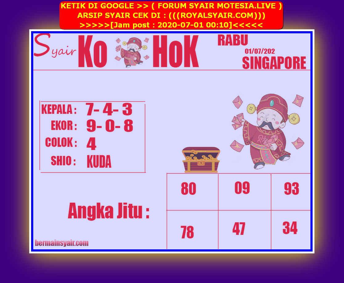 Kode syair Singapore Rabu 1 Juli 2020 207
