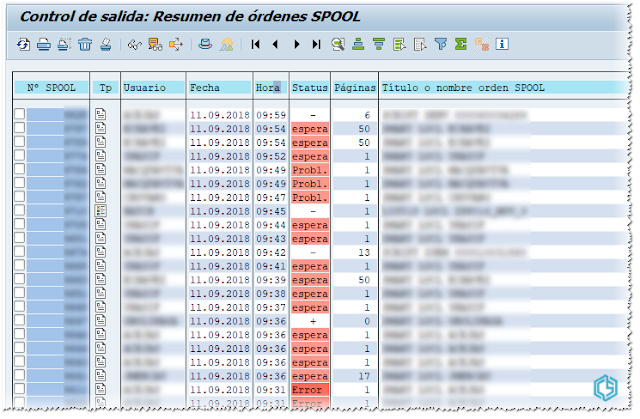 Resumen de órdenes SPOOL - Consultoria-SAP