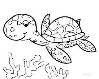 Printable Turtle On Sea Coloring Pages Animals