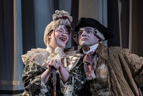 English Eccentrics – British Youth Opera at the Peacock Theatre. Polly Leech (The Countess of Desmond) and Matthew Buswell (Thomas Parr). Photo: Clive Barda/ArenaPAL