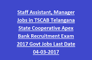 Staff Assistant, Manager Jobs in TSCAB Telangana State Cooperative Apex Bank Recruitment Exam 2017 Govt Jobs Last Date 04-03-2017