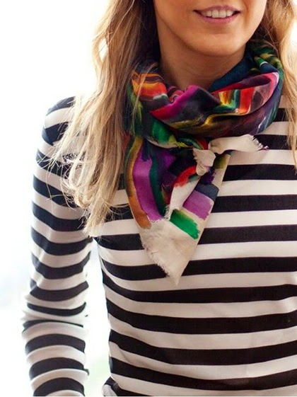 Striped top and a pretty colorful scarf