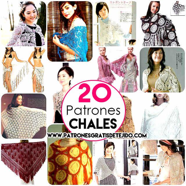 20 Patrones de Chales Crochet para Imprimir / Colección | Crochet y ...