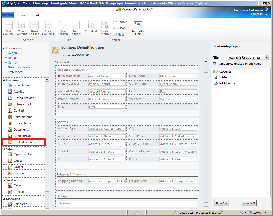 MS CRM 2011: Embed context report to left navigation pane – Andrew