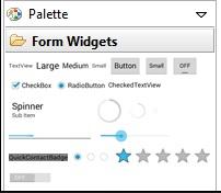 Di aplikasi yang kita buat sudah ada palette di samping kanan, dari situ kita bisa membuat apa saja yang kita ingikan sesuai selera mulai dari tombol BUTTON, teks LARGE,MEDIUM,SMALL