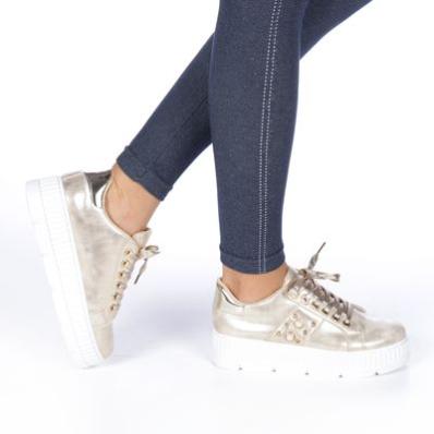 Pantofi sport dama Vanna aurii cu talpa groasa moderni ieftini