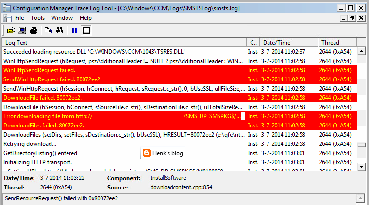 Henk's blog: OSD TS Fails during package download