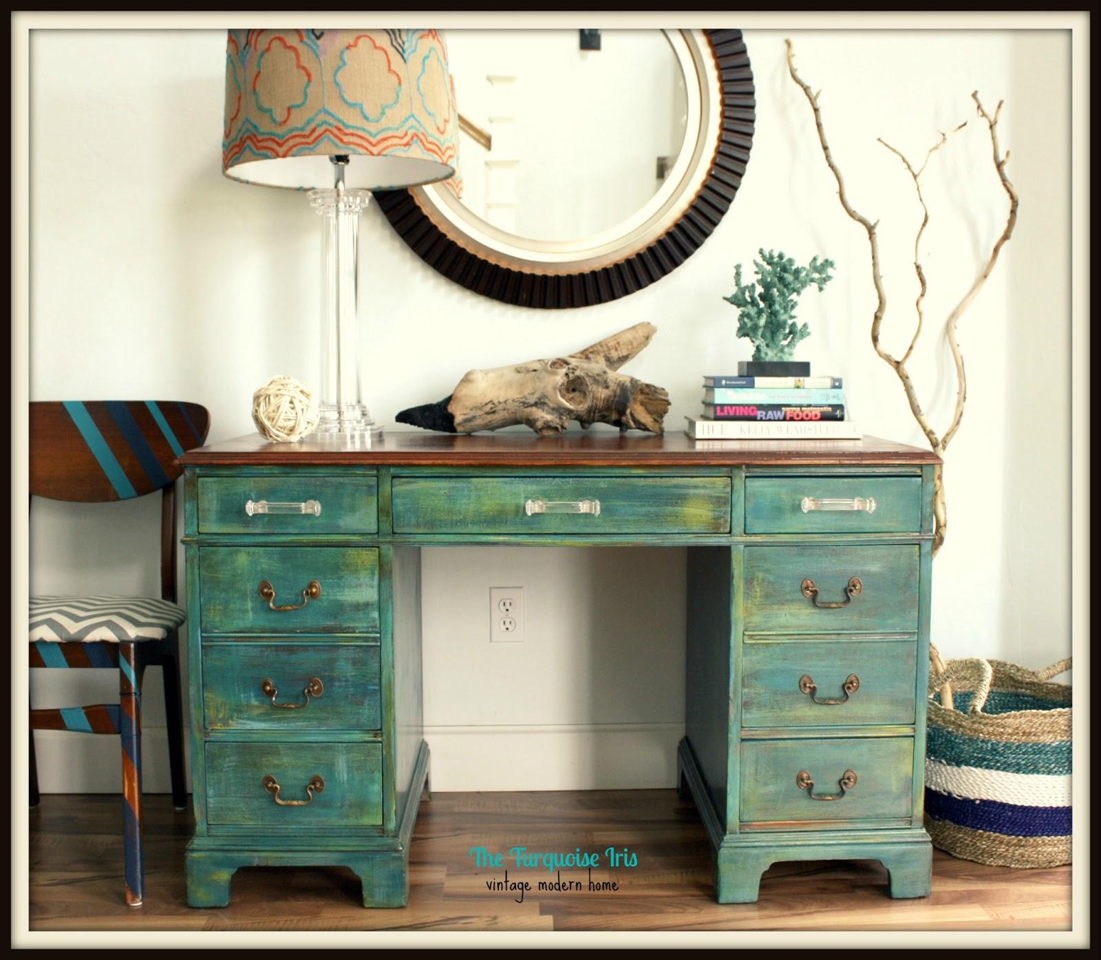 The Turquoise Iris  Furniture  Art Teal Distressed