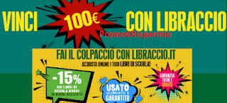Logo Libraccio : acquista i libri per la scuola e vinci 50 buoni spesa da 100 euro