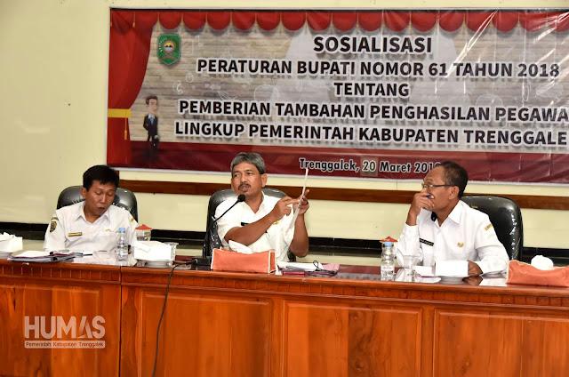 Pemkab Trenggalek Sosialisasikan Perbup 61 Tahun 2018 Tentang Pemberian Tambahan Penghasilan Pegawai