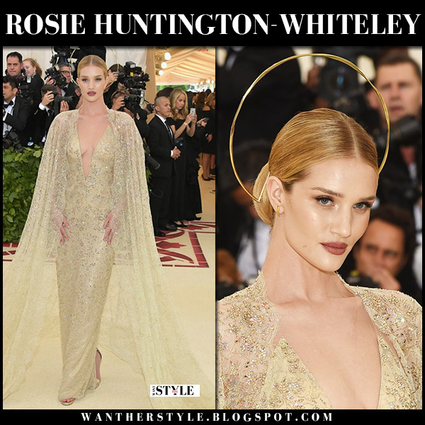 Rosie Huntington-Whiteley in yellow crystal and lace gown ralph lauren met gala dress 2018