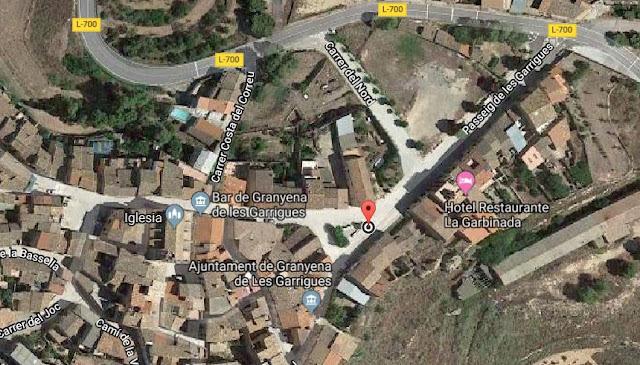 https://www.google.com/maps/dir//Pla%C3%A7a+de+Catalunya,+25160+Granyena+de+les+Garrigues,+Lleida/@41.4329377,0.649244,318m/data=!3m1!1e3!4m9!4m8!1m0!1m5!1m1!1s0x12a6d764ebcfa8f3:0xf732a646c04931e2!2m2!1d0.650392!2d41.4330423!3e0