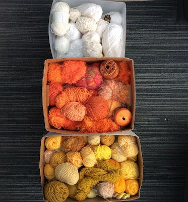 yarn stash yarn wrapped candy corn Halloween decorations Stefanie Girard