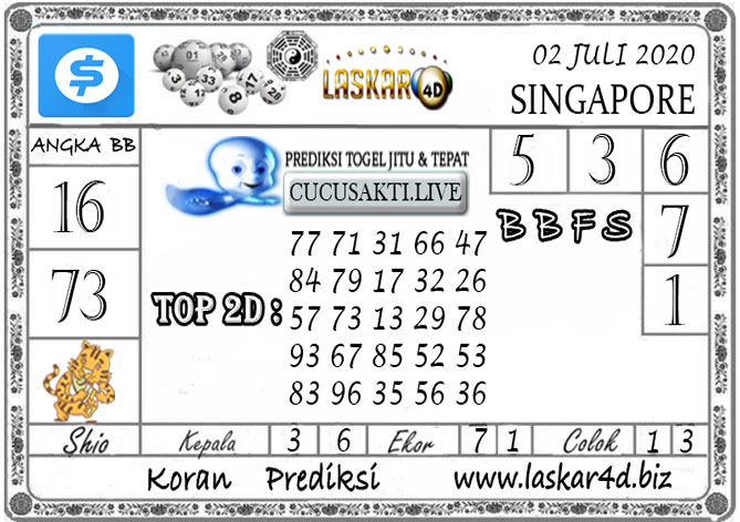 Prediksi Togel SINGAPORE LASKAR4D 02 JULI 2020