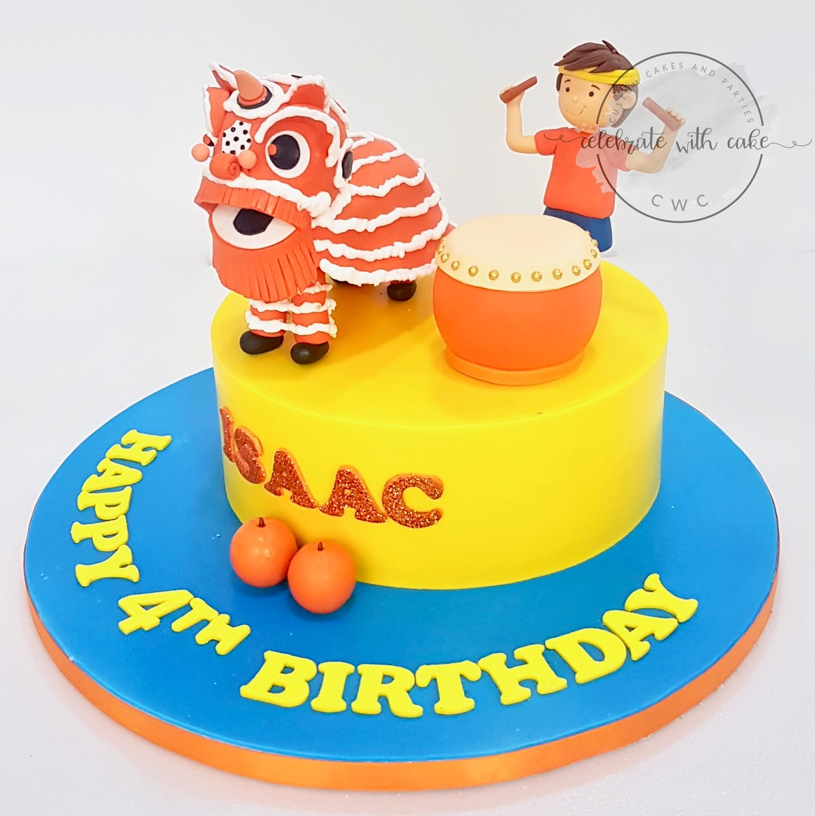 Celebrate with Cake Lion Dance and Boy Drummer