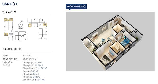 Thiết kế căn hộ E - 76 và 79m2 - Rivera Park
