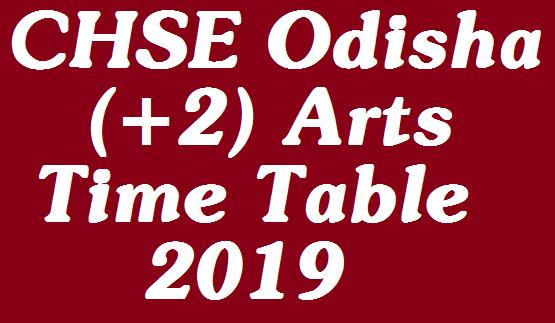 CHSE Odisha Exam (+2) Arts Time Table 2019