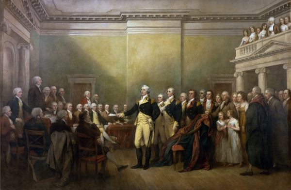 Depiction of Washington handing his commission back to Congress by John Trumble.