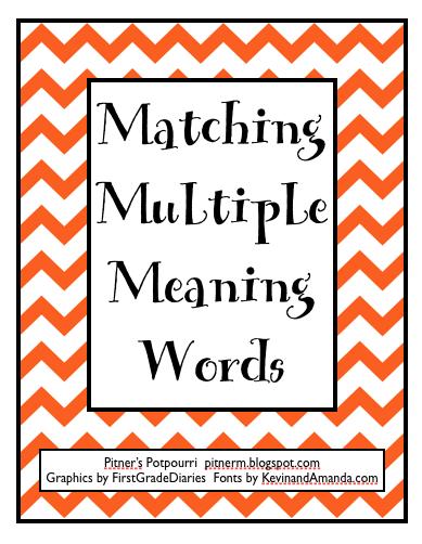 Pitner 39 S Potpourri Multiple Meaning Words Freebie