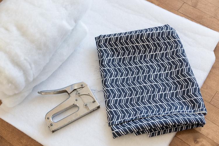 DIY   Stool   square   cover   fabric   dark blue   comfortable   easy   tutorial