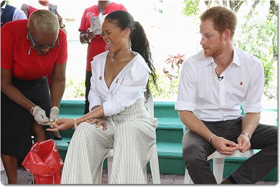 Rihanna and Prince Harry get live HIV tests