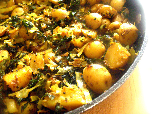Baby Potato, Red Kale and Cabbage Subji