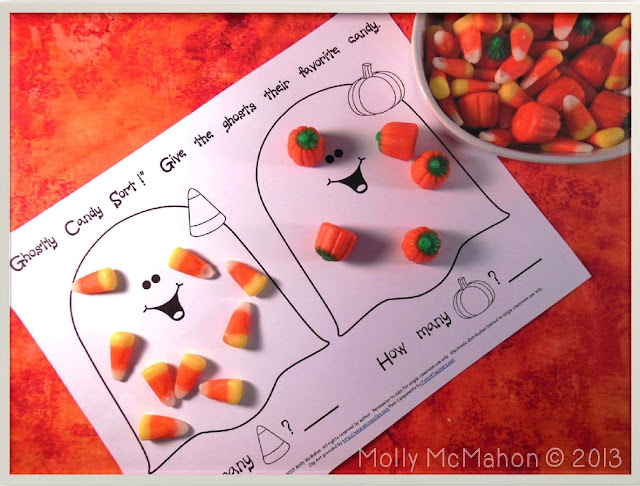 Happy October!  Here is a free sorting activity with two of the friendliest ghosts you've ever seen!  Give each child a bag of candy corn to sort.  You'll need the pumpkin shape variety as well as the traditional type of candy corn.  Students sort the candy corn into the two groups as indicated by the image on the ghosts.  Then they count the candy corn within each group and record the number.  No reading is required for the sorting activity!
