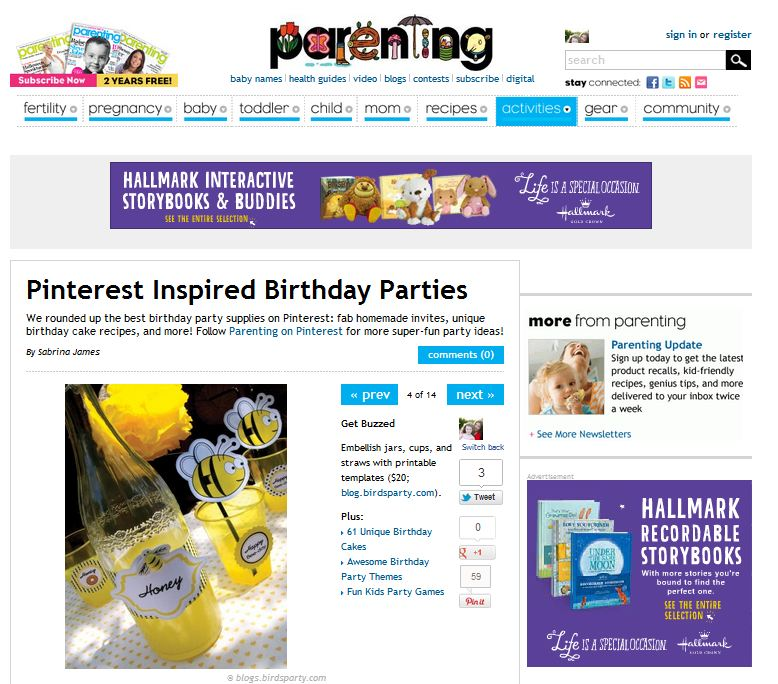 Our Honey Bee Party on Parenting Magazine & Parenting.com - BirdsParty.com
