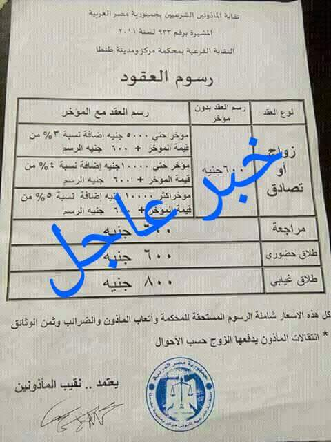 بالاوراق الرسمية - رسوم الزواج والتعاقد والطلاق لجميع محافظات الجمهورية