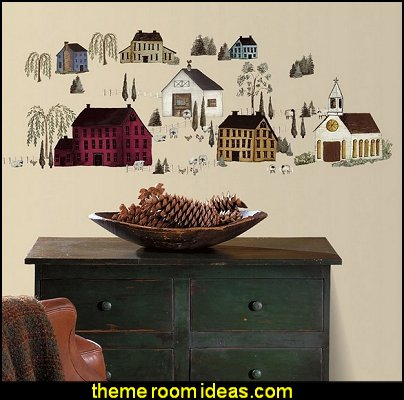 Primitive Scenery Wall Decals Country Kitchen Dining Room Stickers Decor