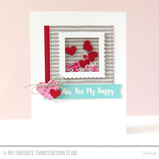 Happy Hearts Shaker Card by Torico featuring the Love You More stamp set, and the Stitched Rectangle STAX, Stitched Square STAX, Stitched Heart STAX, Stitched Mini Scallop Square STAX, Blueprints 20, and Tag Builder Blueprints 3 Die-namics #mftstamps
