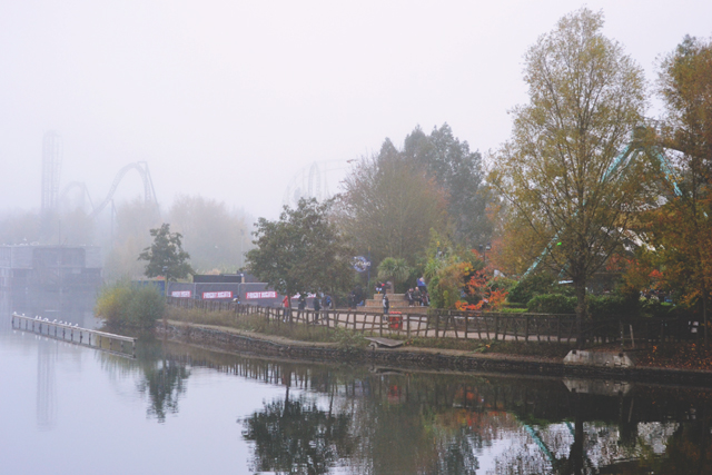 Thorpe Park in the fog