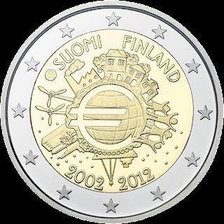 Euro 10 vuotta 2012 Suomi kolikko