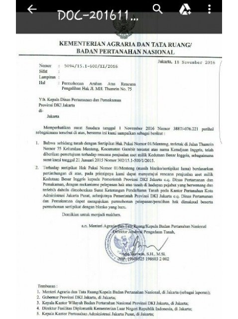 Surat persetujuan dari BPN