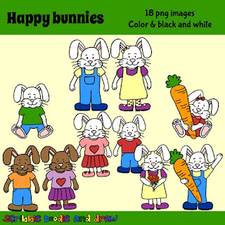 Happy bunnies clip art for teacher printables on tpt and commercial use