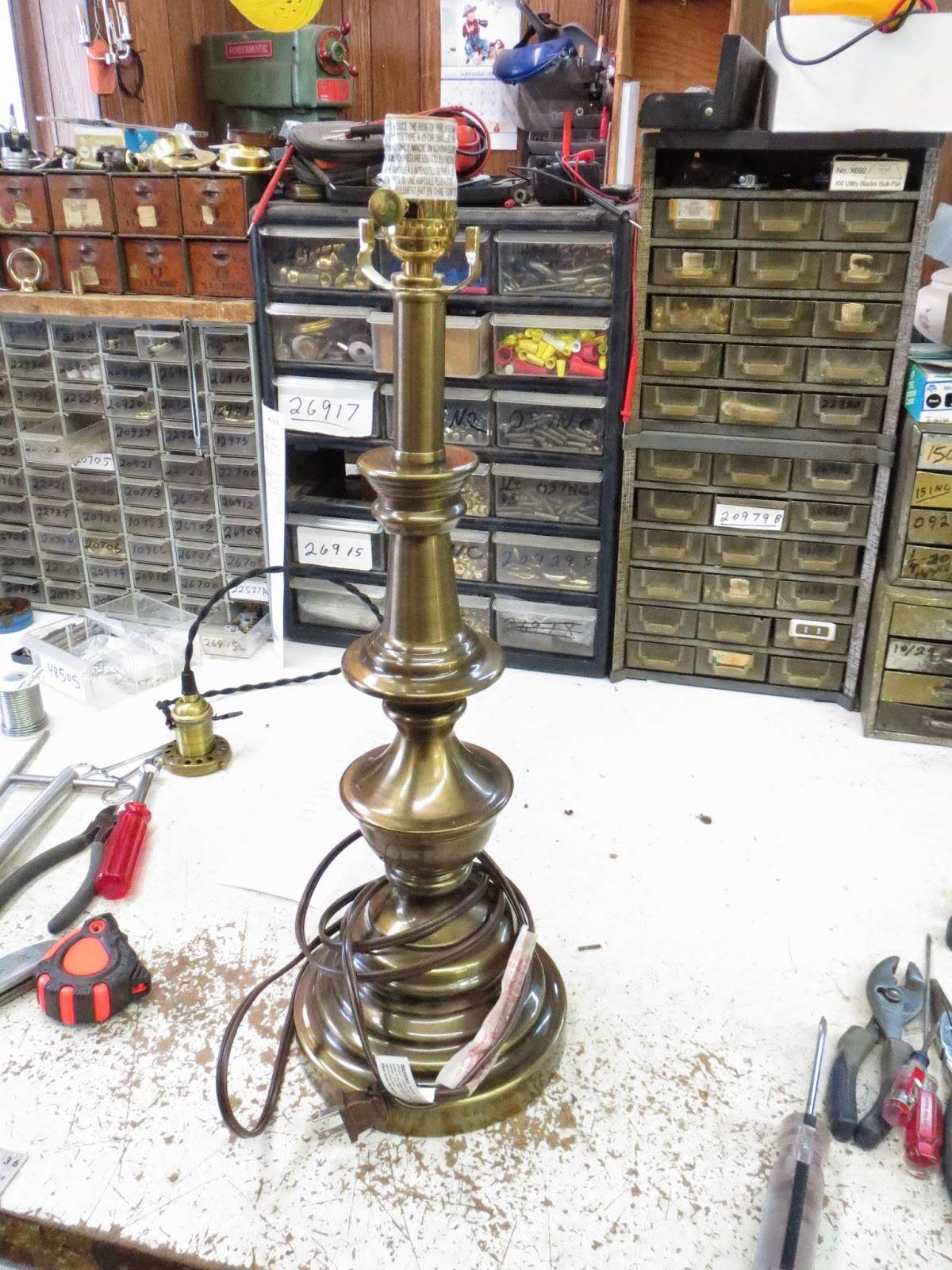 Lamp Parts and Repair | Lamp Doctor: Brass Table Lamp with Burnt ...
