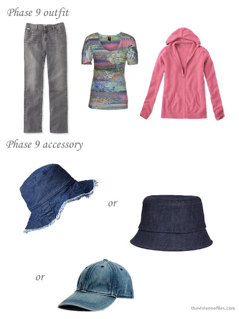 a denim, tee shirt and cashmere cardigan outfit with a choice of denim hats