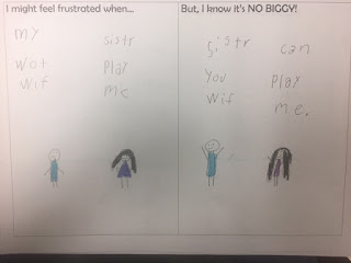 "Student work example working on ""No Biggy!"" lesson plan"