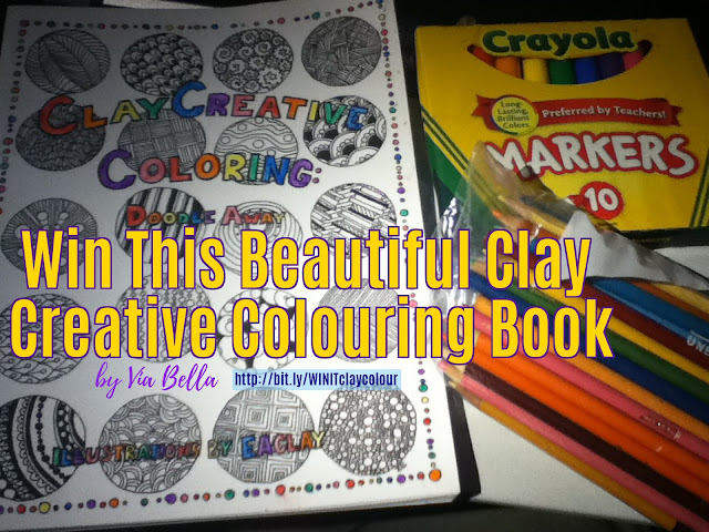 Win This Beautiful Clay Creative Colouring Book, Small Business, colouring book, book review, colouring, adult colouring book, Elizabeth Anne Clay, Amazon, Giveaway, Win it, Enter to Win, Via Bella