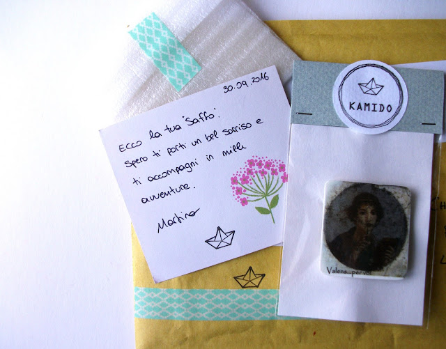 Kamido's custom and sweet package for Sappho handmade polyshrink brooch by accessory designer Kamido Miss Molly