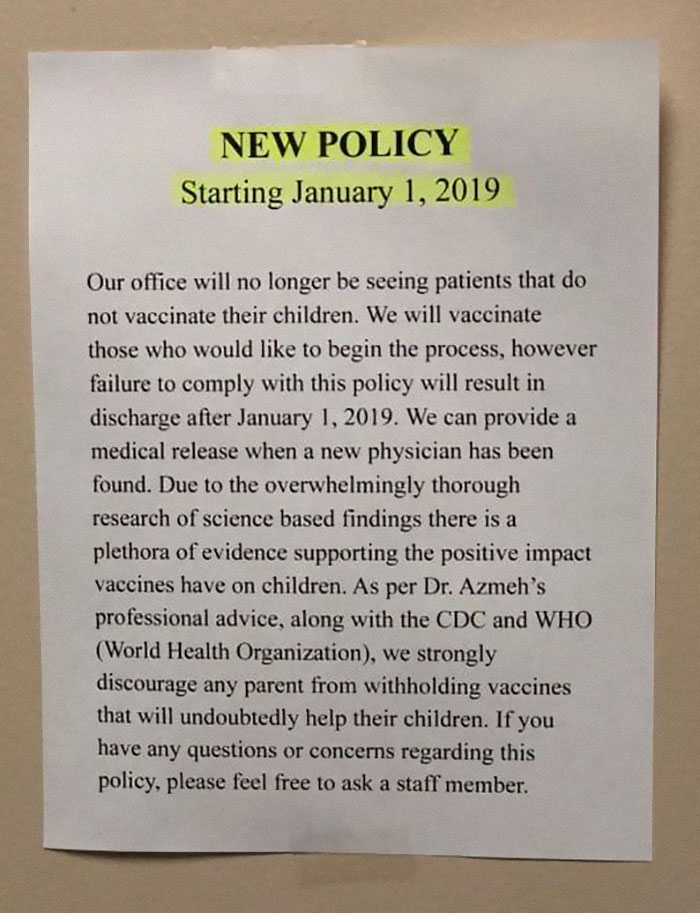 A Doctor Left A Notice Explaining Why Patients Who Haven't Vaccinated Their Kids Won't Be Accepted