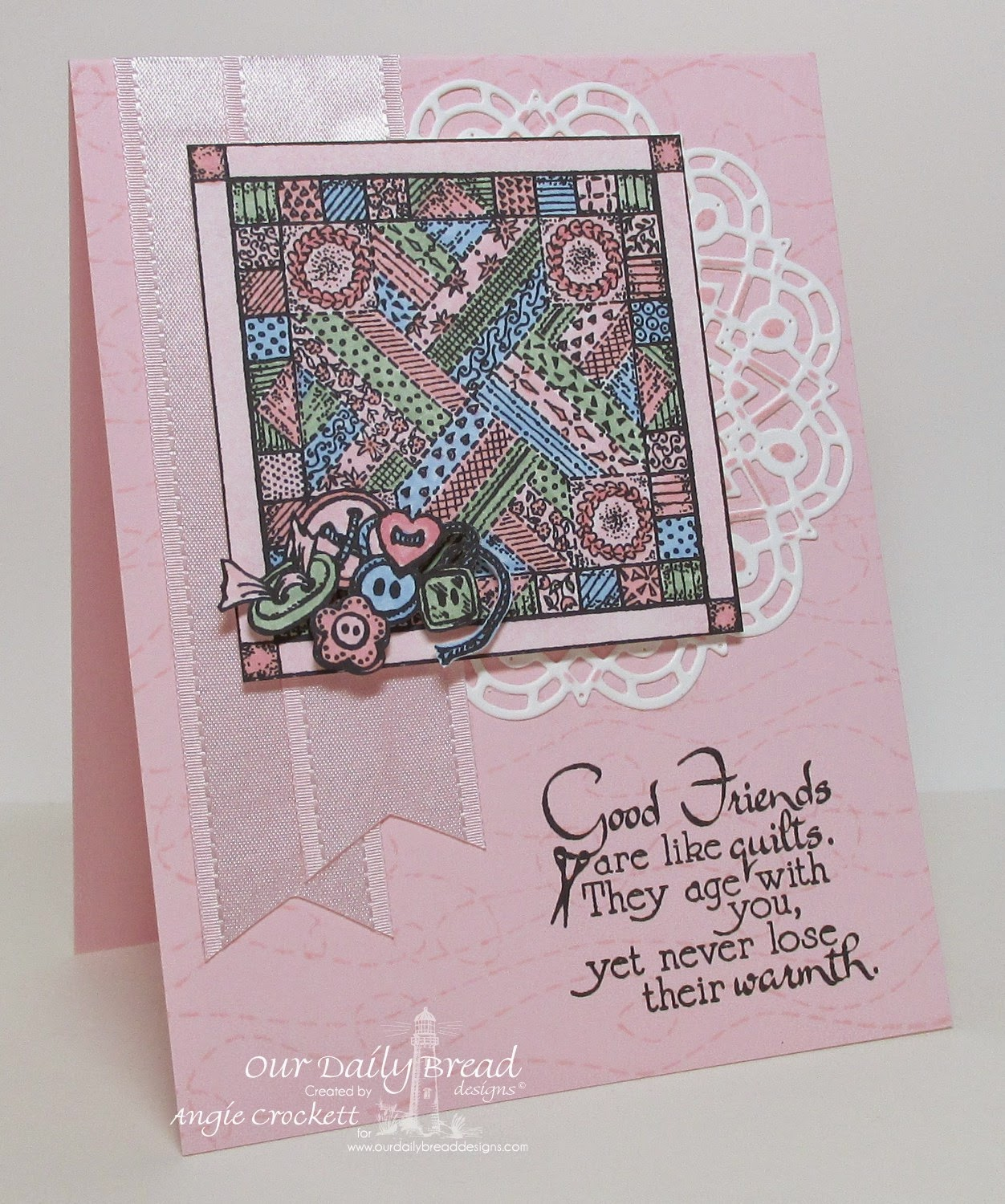 ODBD Quilts and Stitched Background, ODBD Custom Doily Dies, Card Designer Angie Crockett
