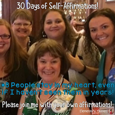 "30 Days of Self-Affirmations: Day 8: People stay in my heart, even if I haven't seen them in years! For 30 days, I will be celebrating my own ""new year"" with self-affirmations. Won't you join me? http://bit.ly/2J4nN0Z"