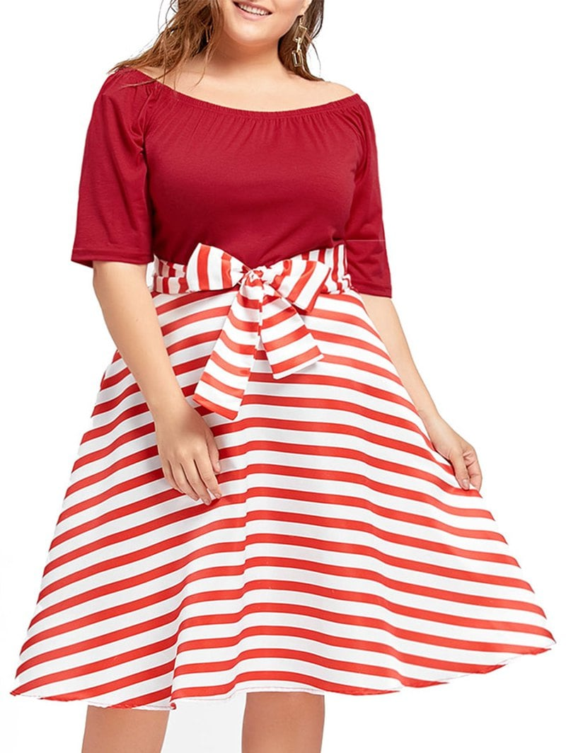 Plus Size Christmas Party Stripe Knee Length Dress