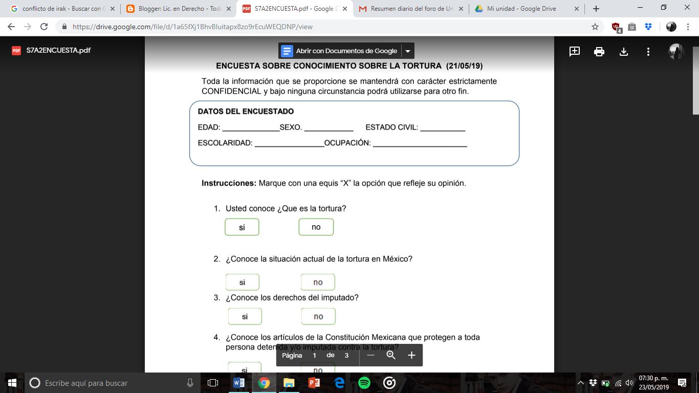 Lic En Derecho Captura De Pantalla De Estructura De Encuesta
